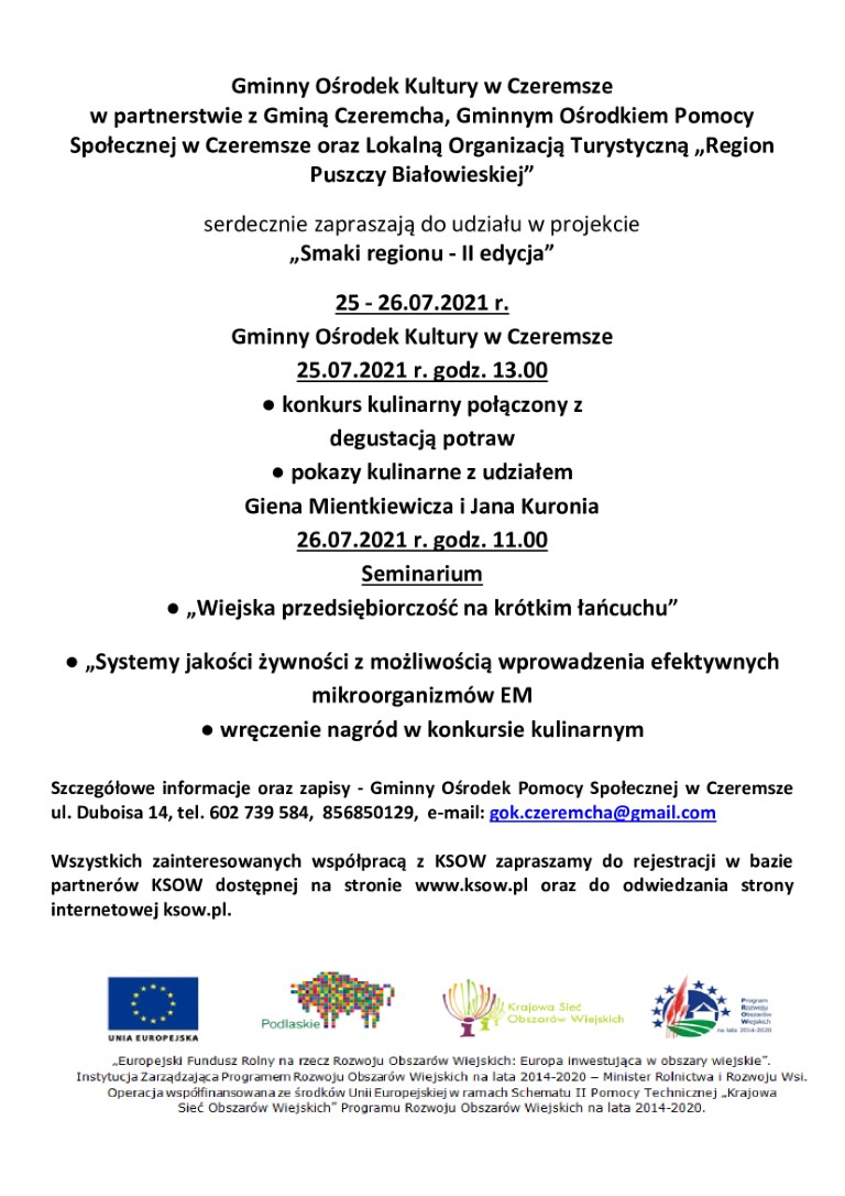 Smaki regionu II edycja - zaproszenie